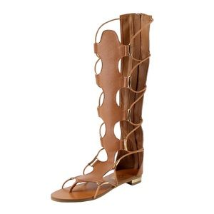 Knee high split toe gladiator sandals (Rome Tan)