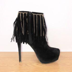 Velvet Platform Fringe & Chain Booties