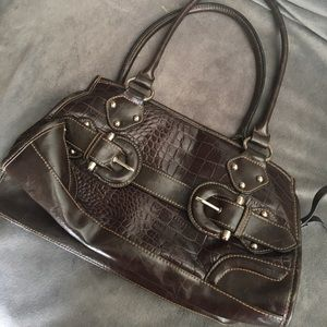 Faux leather handbag (brown)