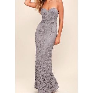 Lulu's Dresses & Skirts - Gray Lace Gown