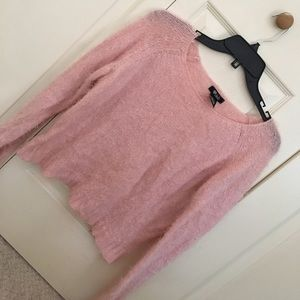Fuzzy pink short sweater