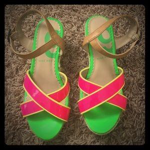 Size 1 Nine West neon wedge espadrilles