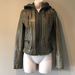 Andrew Marc Jackets & Blazers - Marc New York Leather/Hoodie Moto Jacket, S