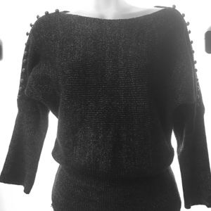 Tops - ✨HP✨ 3/4 Sleeve Knitted Dark Gray  with Metallic