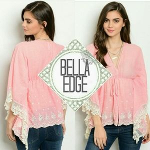 Bella Edge Tops - Pink cream lace bell sleeve babydoll top