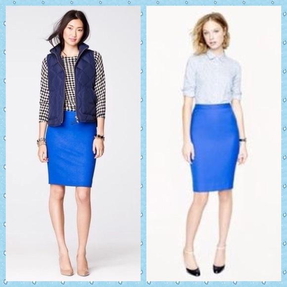 J Crew No 2 Pencil Skirt In Double-serge Cotton Size 4 Cobalt Blue Clothing, Shoes & Accessories