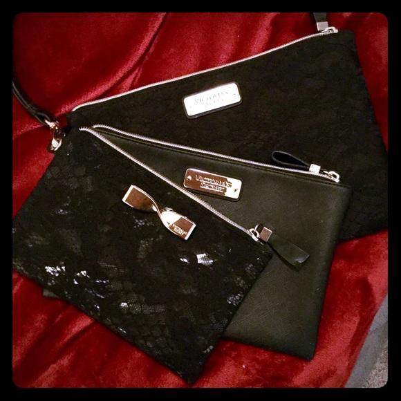 4b61291542c5 Set of 3 VICTORIA SECRET black lace makeup bags. M 589395144e95a3ed22004cd7