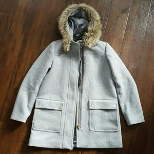 J Crew Factory Vail Parka Grey 10 FIRM