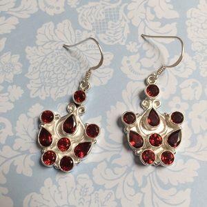 Garnet earrings gorgeous natural gemstones silver