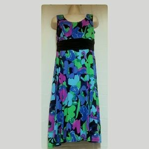 Sleeveless Banded Waist Dress Blue Purple Size 14