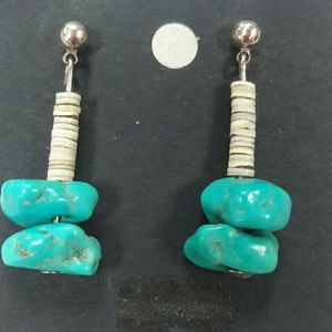 New vintage genuine turquoise post earrings silver