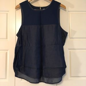 Tops - Mixed media sleeveless chambray top