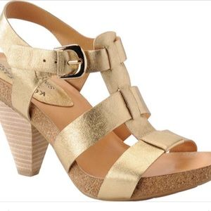Kork Ease Elinor metallic gold t strap sandal 8
