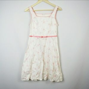 City Triangles Other - White Spring Dress with Pink Floral Embroidery