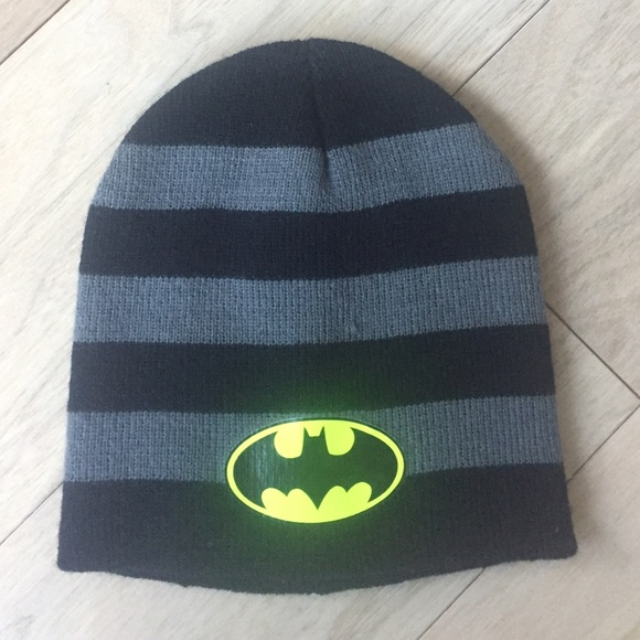 e8f5a488def Kids Striped Batman Beanie Snow Cap Ages 3-6