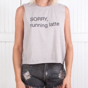 The Laundry Room Tops - Running Latte Crop Graphic Tee