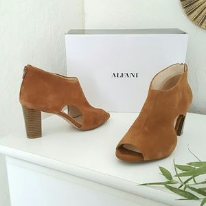 Macy's Shoes - Tan suede open toe cutout ankle boots chunky heels