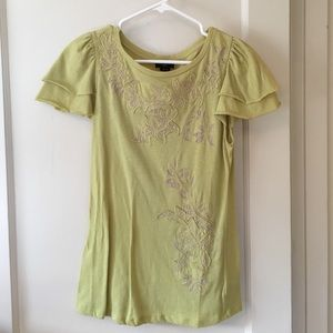 Anthropologie Floral Ruffle Tee
