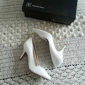 Macy's Shoes - pu leather White  pumps heels wedding / prom