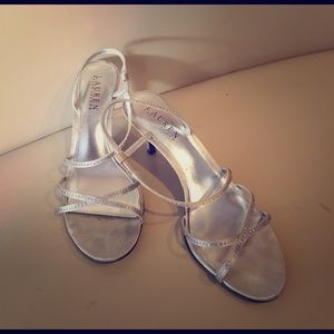 Silver Ralph Lauren Dress Heels Size 8