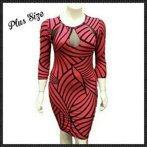 Auditions Dresses & Skirts - 🆕 Size 1X Fushia/Black Bodycon Dress