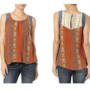 NWT Miss Me Top Denim Cotton Lace 100% Cotton