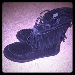 Black suede UGG moccasin booties