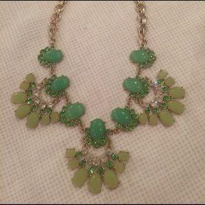 J Crew Green Crystal Fan Statement Necklace