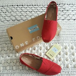 TOMS Shoes - womens red toms classic canvas slipon shoes