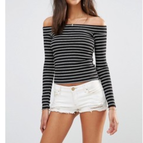 e0abf01a006 Hollister Tops | Off The Shoulder Striped Long Sleeve | Poshmark