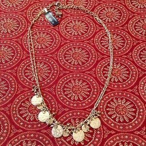 Banana Republic Hammered Gold Disc Necklace