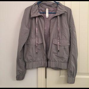Lorna Jane Jackets & Blazers - Lorna Jane Active Gray Bomber Jacket Hoodie Small