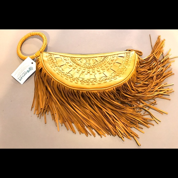 Vintage Bags - Leather Fringe Wristlet Clutch