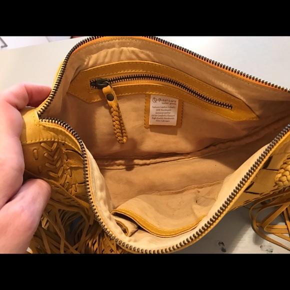 Vintage Bags - Leather Fringe Wristlet Clutch