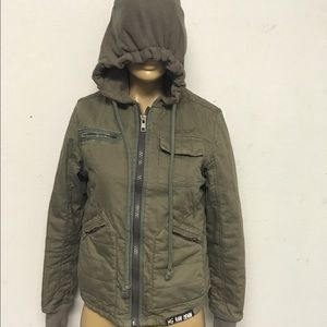 Hot & the gang raw denim taupe green jacket hoodie