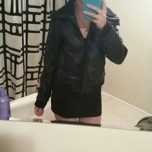 Hollister Jackets & Blazers - Black Faux Leather Jacket