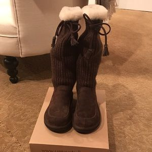 UGG Suede and Sweater Boots Size 6