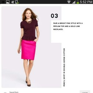 "J crew factory hot pink ""The pencil skirt"""