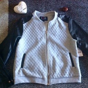 "Boy Meets Girl Jackets & Blazers - Lt. Grey and black quilted ""baseball"" jacket"