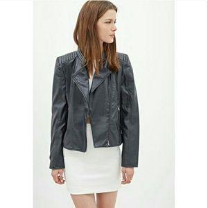 Forever 21 Jackets & Blazers - Forever 21 Faux Slate Gray Moto Biker Jacket
