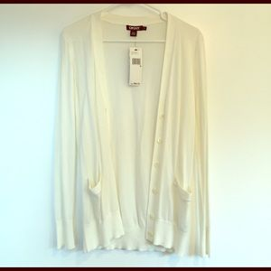 DKNY light white cotton cardigan