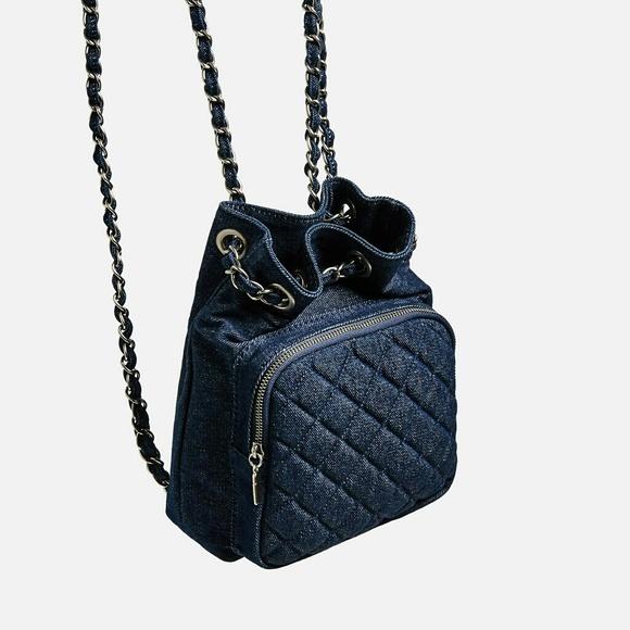 b3f4c1d4da NWT Zara Mini Denim Quilted Backpack