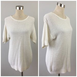 hinge Sweaters - Wool Cashmere Open Knit White Pullover Sweater