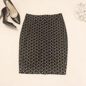 Ann Taylor Loft black floral eyelet pencil skirt
