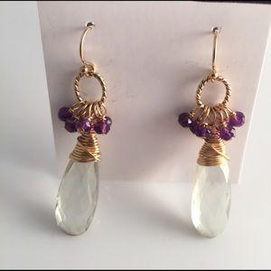 14kt g.f. And green & purple amethyst earrings new