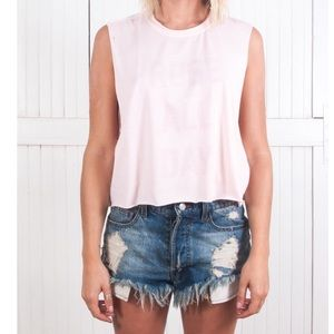 The Laundry Room Tops - Rosé All Day Crop Muscle Tee