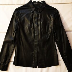 All Saints Leather Argyle Shirt