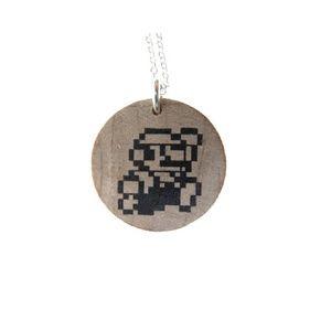 8 Bit Mario Wood Necklace