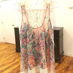 Collective Concepts Tops - Sale!Collective Concepts Floral Print Crochet Tank