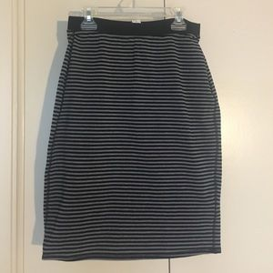 Black and Gray Striped Stretch Pencil Skirt